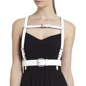 BCBG White Waist Faux Leather Harness Waist Belt